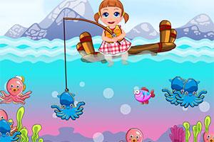 可爱宝贝钓鱼时间